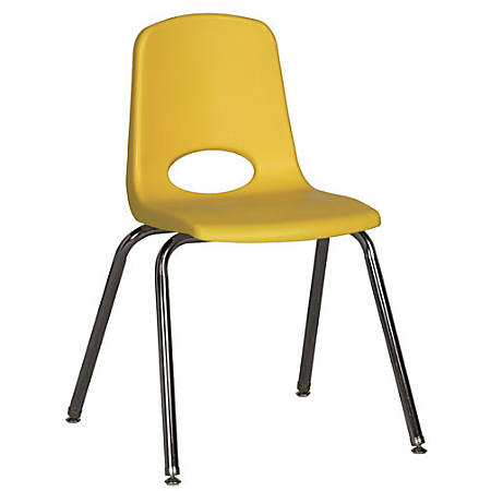 "ECR4Kids® School Stack Chairs, 18"" Seat Height, Yellow/Chrome Legs, Pack Of 5"