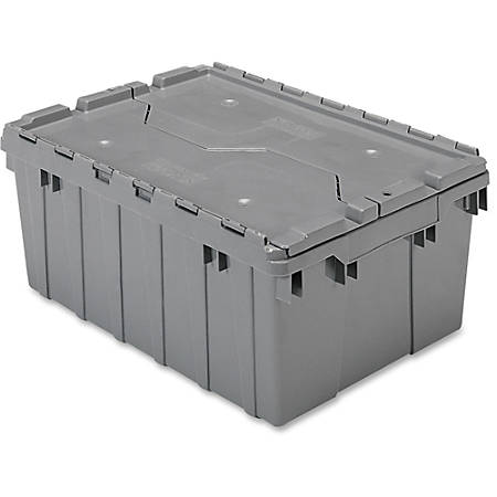 Akro-Mils Attached Lid Storage Container, Gray