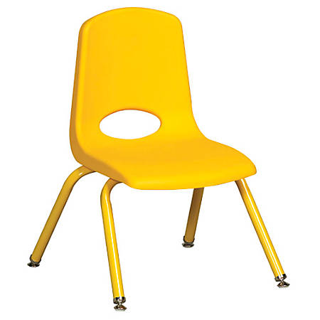 "ECR4Kids® School Stack Chairs, 12"" Seat Height, Yellow, Pack Of 6"