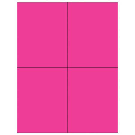 "Office Depot® Brand Labels, LL183PK, Rectangle, 4 1/4"" x 5 1/2"", Fluorescent Pink, Case Of 400"