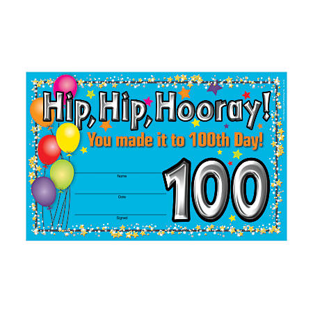 """Barker Creek Blank Award Certificates, 100th Day, 8 1/2"""" x 5 1/2"""", Pack Of 30"""