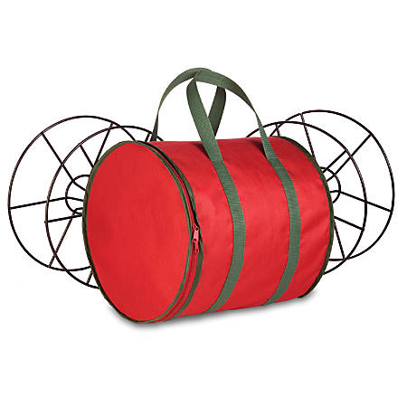 """Honey-Can-Do Holiday Light String Storage Reels And Bag, 12""""H x 12""""W x 12""""D, Red/Green"""