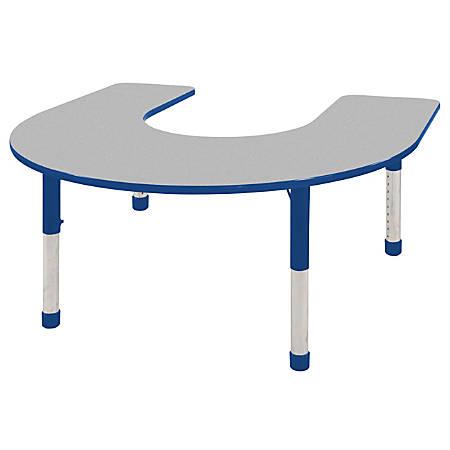 "ECR4KIDS® Adjustable Horseshoe Activity Table, Chunky Legs, 60""W x 66""D, Gray Top/Blue Legs"