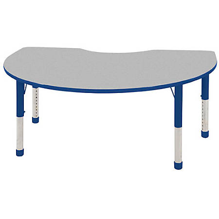 "ECR4Kids® Adjustable Kidney Activity Tables, Chunky Legs, 48""W x 72""D, Gray/Blue"