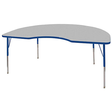 "ECR4Kids® Adjustable Kidney Activity Tables, Standard Legs, 48""W x 72""D, Gray/Blue"