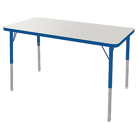 """Marco Group 24"""" x 48"""" Activity Table, Rectangular, 21 - 30""""H, Gray Glace/Blue"""