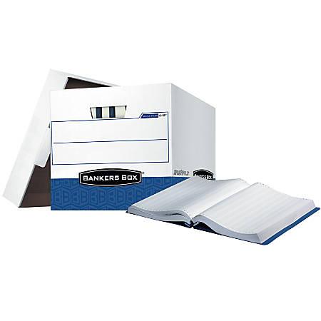 "Bankers Box® 65% Recycled Printout Data-Pak Storage Boxes, 13"" x 13 3/4"" x 17 3/4"", White/Blue, Case Of 12"