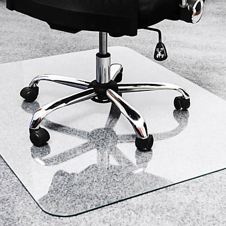 "Cleartex Glaciermat Glass Chair Mat, 36"" x 48"", Clear"