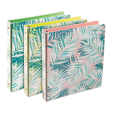 """Divoga® Tropical Palm Round-Ring Fashion Binder, 1 1/2"""" Rings, Assorted Colors"""