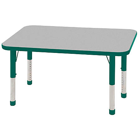 "ECR4KIDS® Adjustable Rectangle Activity Table, Chunky Legs, 24""W x 48""D, Gray Top/Green Legs"