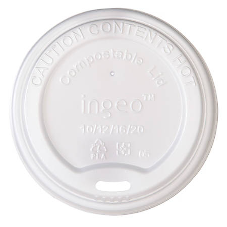 Highmark® Compostable Hot Cup Lids, 10-20 Oz, White, Pack Of 800