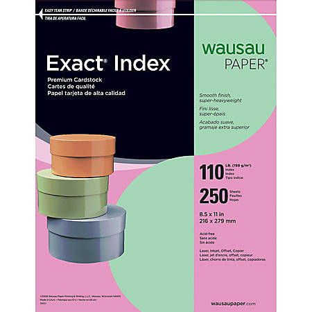"Neenah Extra-Heavyweight Exact® Index Card Stock, 8 1/2"" x 11"", 110 Lb., Green, Pack Of 250 Sheets"