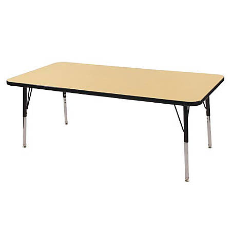 "ECR4KIDS® Adjustable Rectangle Activity Table, Standard Legs, 30""W x 60""D, Maple/Black"