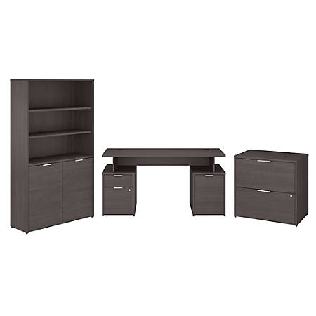 """Bush Business Furniture Jamestown 60""""W Desk With Storage, File Cabinets And 5-Shelf Bookcase, Storm Gray, Standard Delivery"""