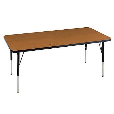 "ECR4KIDS® Adjustable Rectangle Activity Table, Standard Legs, 30""W x 60""D, Oak/Black"