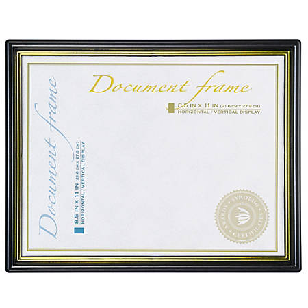 """Wall-Mountable Certificate Frame, 8-1/2"""" x 11"""", Black/Gold"""