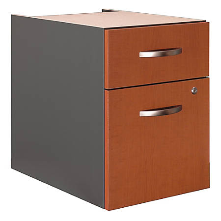 Bush Business Furniture Components 2 Drawer 3/4 Pedestal, Auburn Maple/Graphite Gray, Standard Delivery