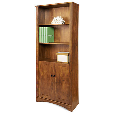 Realspace® Dawson 5-Shelf Bookcase With Doors, Brushed Maple