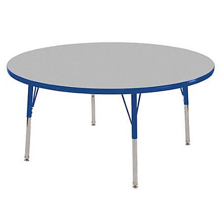 "ECR4KIDS® Adjustable Round Activity Table, Standard Legs, 48"" Diameter, Gray Top/Blue Legs"