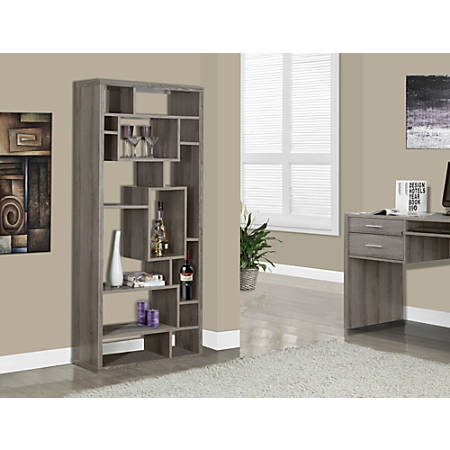 Monarch Specialties 14-Shelf Bookcase, Dark Taupe