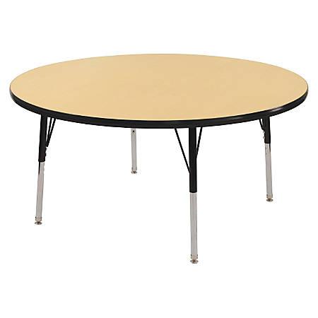 "ECR4KIDS® Adjustable Round Activity Table, Standard Legs, 48"" Diameter, Maple Top/Black Legs"