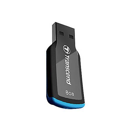 Transcend 8GB JetFlash 360 USB 2.0 Flash Drive - 8 GB - USB 2.0 - Black, Blue