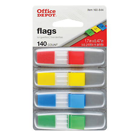 """Office Depot® Brand Self-Stick Flags, 1/2"""" x 1 7/10"""", Assorted Colors, 35 Flags Per Pad, Pack Of 4 Pads"""