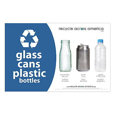 """Recycle Across America Glass, GCP-5585, Cans And Plastics Standardized Recycling Label, 5 1/2"""" x 8 1/2"""", Blue"""
