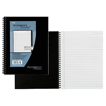 "Cambridge® Limited® 30% Recycled Business Notebook, 6 5/8"" x 9 1/2"", 1 Subject, Legal Ruled, 80 Sheets, Black (06672)"