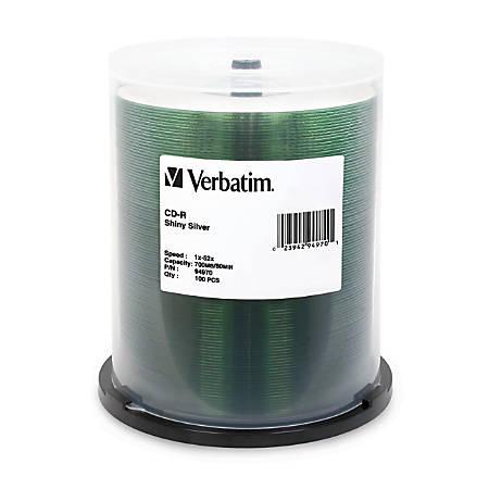 Verbatim CD-R 700MB 52X Shiny Silver Silk Screen Printable - 100pk Spindle