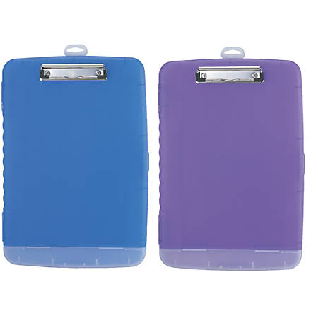 "Officemate® Slim Clipboard Storage Box, 14 1/2""H x 10""W x 1 1/4""D, Purple/Blue"
