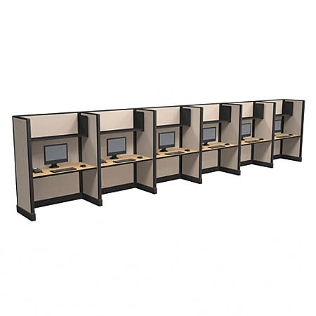 Cube Solutions Commercial-Grade Full-Height Call-Center Cubicle, Includes Integrated Power, Line of 6