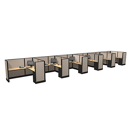 Cube Solutions Commercial-Grade Mid-Height L-Shaped Junior Executive Cubicle, Includes Integrated Power, Line of 6