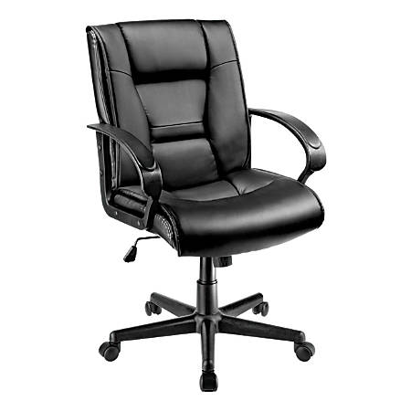 Brenton Studio® Ruzzi Vinyl Managerial Mid-Back Chair, Black
