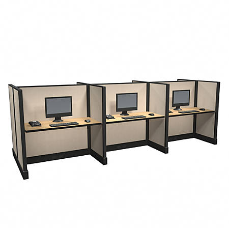 Cube Solutions Commercial-Grade Mid-Height Call-Center Cubicle, Includes Integrated Power, Pod of 6