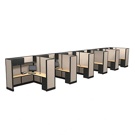 Cube Solutions Commercial-Grade Full-Height L-Shaped Junior Executive Cubicle, Includes Integrated Power, Line of 6