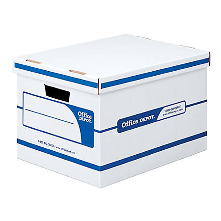 "Office Depot® Brand Quick Set-Up Storage Boxes With Lift-Off Lid, Letter/Legal, 15"" x 12"" x 10"", 60% Recycled, White/Blue, Pack Of 12"