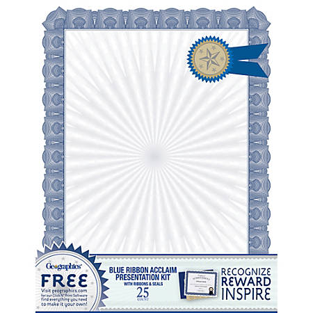 "Geographics® 30% Recycled Blank Parchment Certificates, 8 1/2"" x 11"", Blue, Pack Of 25"