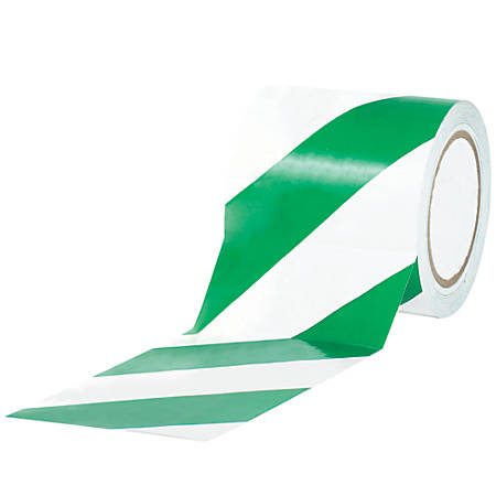 """BOX Packaging Striped Vinyl Tape, 3"""" Core, 4"""" x 36 Yd., Green/White, Case Of 12"""