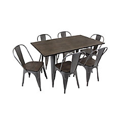 Lumisource Oregon Table Set 6 Chairs