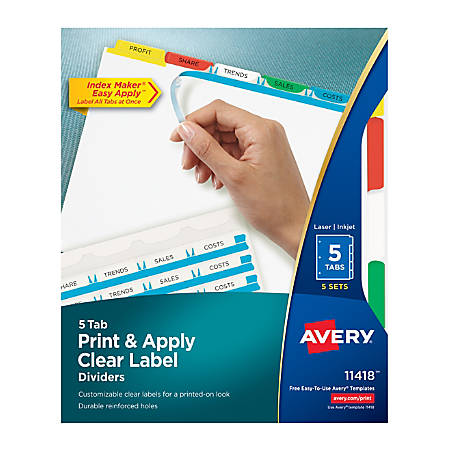 Avery® Print & Apply Clear Label Dividers With Index Maker® Easy Apply™ Printable Label Strip And Color Tabs, 5-Tab, Multicolor, Pack Of 5 Sets