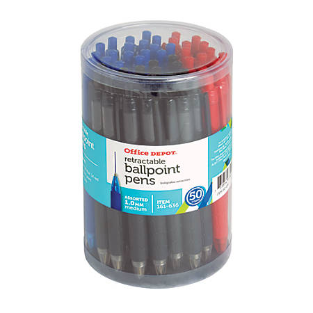 Office Depot® Retractable Ballpoint Pens With Grips, Medium Point, 1.0 mm, Black/Blue/Red Barrels, Black/Blue/Red Inks, Pack Of 50