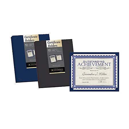 southworth certificate holders navy blue pack of 10 by office depot