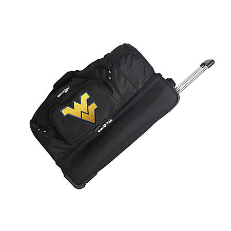 Denco Sports Luggage Rolling Drop-Bottom Duffel Bag, West Virginia Mountaineers, Black