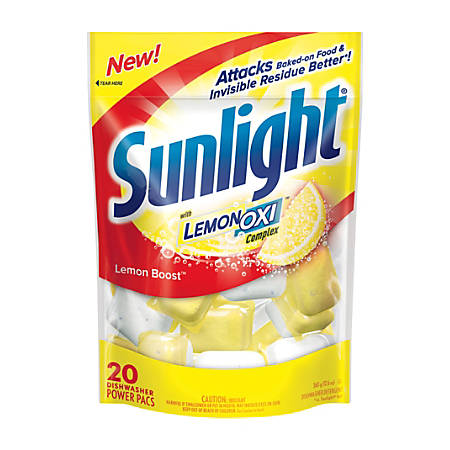 Sunlight Auto Dish Powder, Lemon Boost Scent, 20 Oz, Case Of 6