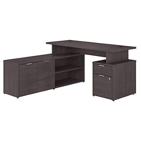 """Bush Business Furniture Jamestown L-Shaped Desk With Drawers, 60""""W, Storm Gray, Standard Delivery"""