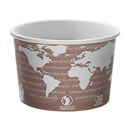 Eco-Products® World Art™ PLA-Laminated Soup Containers, 8 Oz, 50 Containers Per Pack, Carton Of 20 Packs
