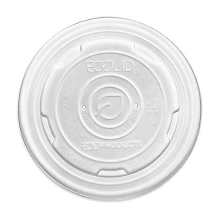 Eco-Products® World Art™ PLA-Laminated Soup Container Lids, For 32-Oz Containers, White, 50 Lids Per Pack, Carton Of 10 Packs