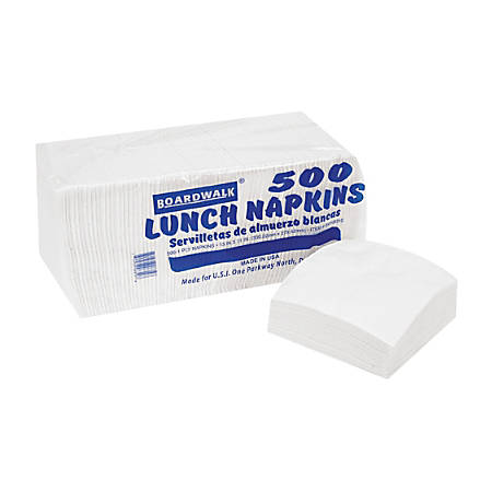 "Boardwalk 1/4-Fold 1-Ply Lunch Napkins, 11"" x 13"", White, Pack Of 500, Case Of 12"