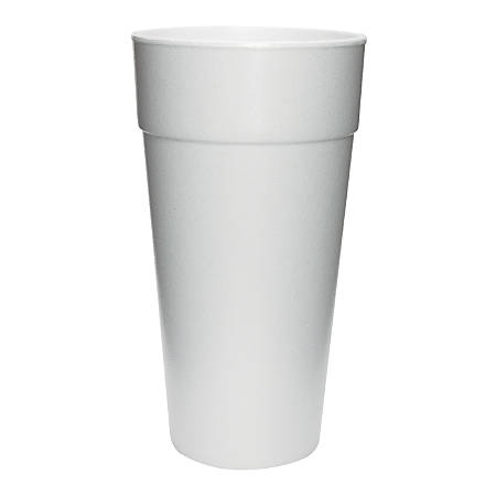 Dart Insulated Foam Cups, 24 Oz, White, 25 Cups Per Bag, Carton Of 20 Bags